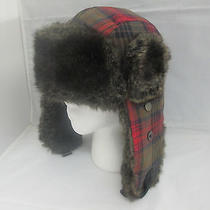 Mossimo Plaid Trapper Faux Fur Hat Beanie Stocking Ski Cap Vintage Retro H4 Photo