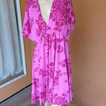 Mossimo Plus Xxl Pink Floral Baby Doll Tunic Dress Detail Coverup Modest Photo