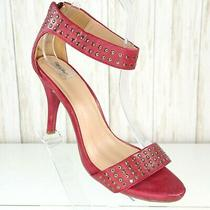 Mossimo Red Sandals Heels Size 7.5 M Womens Ankle Strap Back Zippers Gold Studs Photo
