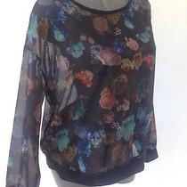 Mossimo Sheer Rose Flowers Top Black Size Large Blouse Shirt Long Sleeves Photo