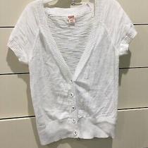 Mossimo Short Sleeve Heathered Cardigan Sweater Women's Xs White Button Up   Photo