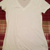Mossimo Short Sleeve White Knit Top Layer v Neck T-Shirt Soft  Cotton S Photo