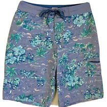 Mossimo Size 30 Mens Blue Floral Print Swim Trunks/board Shorts Hibiscus Fiji Photo