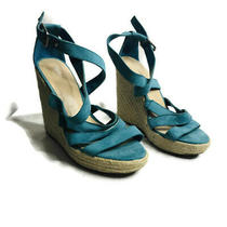 Mossimo Size 8.5 Blue Criss Cross Strap Espadrille Wedges Summer Sandals Photo