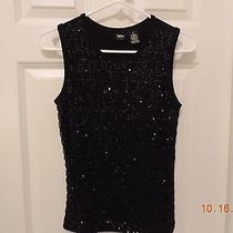 Mossimo Stretch Sequin Sleeveless Black Top Size Small Photo