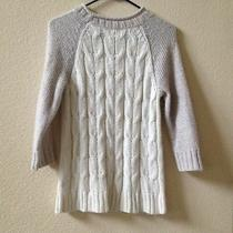 Mossimo Supply Co Cable Sweater Size M White & Light Gray Photo