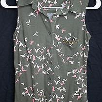 Mossimo Supply Co Green Bird Blouse Top Photo