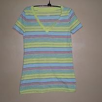 Mossimo Supply Co Women Medium Short Sleeve Striped Shirt Vibrant Bright Colors Photo