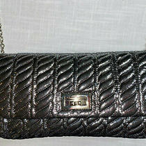 Mossimo Supply Co Women's Puffy Quilted Platinum Dark Grey Black Chain Purse Photo