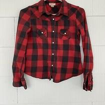Mossimo Supply Co. Women's Red Plaid Crop Flannel Shirt - Size M Photo