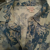 Mossimo Supply Co Xs/tp Blue Floral Top With Mother of Pearl Snap Buttons Photo