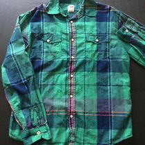 Mossimo Supply Western Green Plaid Rhinestone Pearl Button Snap Shirt M Mens Photo