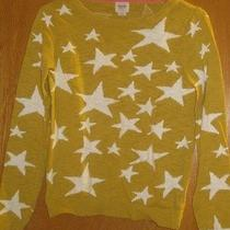 Mossimo Sweater Mustard Star Power Juniors Small Casual Trendy Rocker Photo