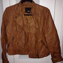 Mossimo Tan Moto Leather Jacket Trendy and Distressed Photo