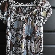 Mossimo Target Brown Teal Blue White Floral Print Short Sleeve Top Size Small S  Photo