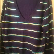 Mossimo v-Neck Sweater Sz Xxl Blue Yellow Sequin Photo