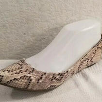 Mossimo Wmn Sz 6 Textile Snake Skin Print Pointed Toe Open Side Flats Shoes Photo