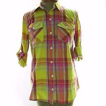 Mossimo Women's 3/4 Sleeve Button Front Shirt Top Size S Small Plaid  Photo