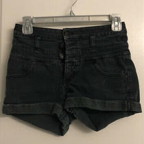 Mossimo Womens Juniors High Waisted Black Shorts Size 4 Photo