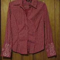 Mossimo Women's Long Sleeve Blouse Shirt Sz S Small Red/white Striped  Photo