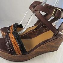 Mossimo Women's Sandals 8.5 Brown Black Ankle Strap Slide Wedge New Photo