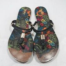 Mossimo Women's Size 9 Multicolor Floral Print Thong Flat Sandals Black Strap Photo