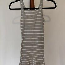 Mossimo Women's Size S Tank Top Gray White Striped Scoop Neck Slim Fit Photo