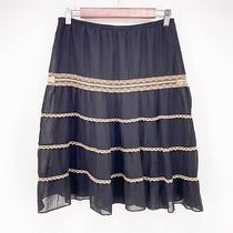 Mossimo Womens Small Black Gold Elastic Waist Lace Lined Knee Length Skirt L13 Photo