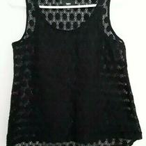 Mossimo Women Size S Solid Black Sleeveless Lace Top Photo