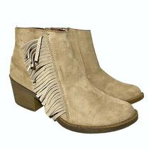Mossimo Womens Beige Side Zipper Fringed Western Ankle Booties Size 8 Fringe Photo