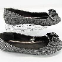 Mossimo Womens Black Gray Herringbone Fluted Ruffle Ballet Flats Shoes 10m Y5 Photo