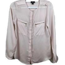 Mossimo Womens Blush Long Sleeve Top Zip Pockets Size Xs Photo