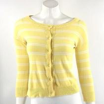 Mossimo Womens Cardigan Sweater Size Small Yellow White Striped Button Up Top Photo