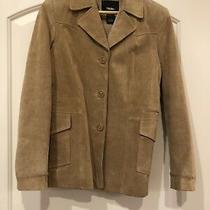 Mossimo Womens Size Xs Beige Genuine Suede Leather Coat Button-Up Photo