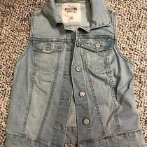 Mossimo Womens Size Xs Light Wash Stretch Denim Jean Button Up Vest Photo