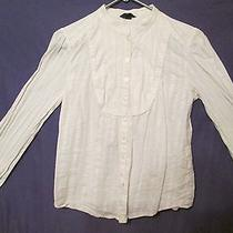 Mossimo Womens Small Button Down White Blouse 96% Cotton 4% Other Fiber Casual Photo