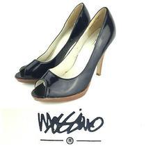 Mossimo Womens Us 7.5 Black Pleather Wood Peep Toe 4 in Platform Stiletto Pumps Photo