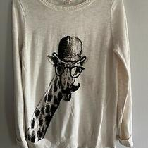 Mossimo Womens Xl Sweater Giraffe Graphic Ivory Cotton Hat Glasses Graphic Photo