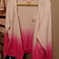 Mossimo Xxl Lightweight Sweat Jacket Open Cream W/variations of Pink Photo