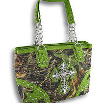 Mossy Oak Camo Purse Mock Croc Trim Rhinestone Cross Chrome Studs Color Green Photo