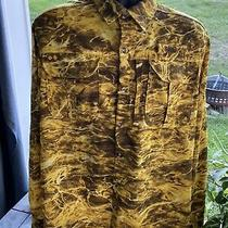 Mossy Oak Fishing Shirt Elements Aqua Yellow Water Pattern Camo Mens Size Med M Photo