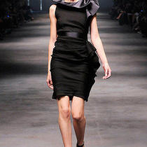 Most Wanted Sensational Like No Others 2010 Lanvin Asynmmetric Black Wool Dress Photo