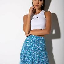 Motel Rocks Gaelle Mini Skirt in Bloom Baby Blue S Small (Mr49) Photo