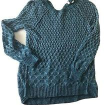 Moth Anthropologie Blue Honeycomb Knit Sweater Sz S Back Zipper Photo