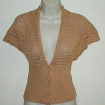 Moth Anthropologie Crocheted Sweater Cardigan Cap Sleeves S Cotton Crochet Photo