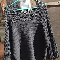 Moth Anthropologie Dark Navy Blue Ribbed Loose Fit Sweater Mesh Top Area M Guc Photo