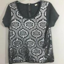 Moth Anthropologie Drawing Room Silver Damask Sweater Top Small Photo