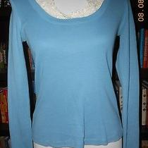 Moth Anthropologie Lace Collar & Wrists Blue Cotton Top Blouse Small S Photo