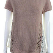 Moth Womens Crew Neck Short Sleeve Lace Sweater Blush Pink Size Small Photo