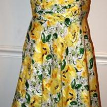 Mother Bride Party Dress 100% Cotton Floral Pastel Yellow Beach Tunic 6p S Photo